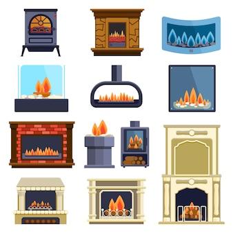 暖炉のアイコンのセット。