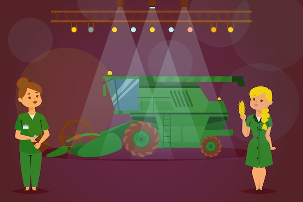 Презентация нового трактора, зерноуборочного комбайна, сельскохозяйственной рабочей машины, женщина характер демонстрации грузовик, плоской иллюстрации.