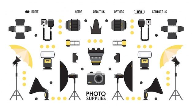 写真供給のウェブサイトのデザイン、イラスト。プロの写真機器オンラインショップ、ランディングページテンプレート。フラットスタイルのカメラとレンズの分離アイコン