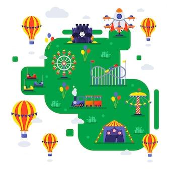 遊園地のイラスト。フラットスタイル、カルーセル、電車、ジェットコースターの場所にある夏の見本市会場の地図。遊園地への招待、見本市スキーム