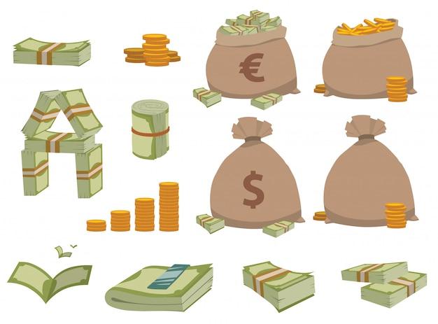 Набор символов денег.