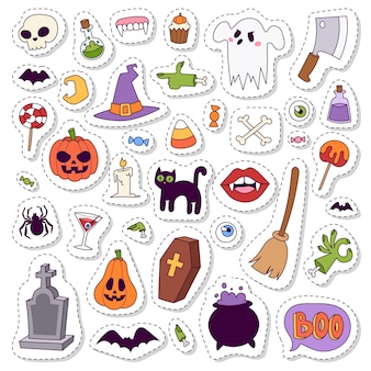 Коллекция символов хэллоуина.