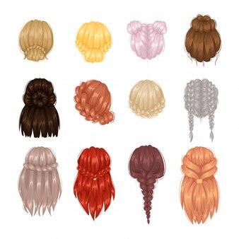 女性の髪型の背面図
