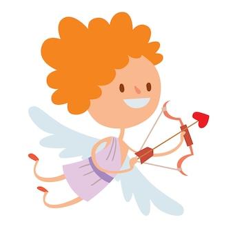 バレンタインデーのキューピッド天使たち漫画スタイルのベクトル図
