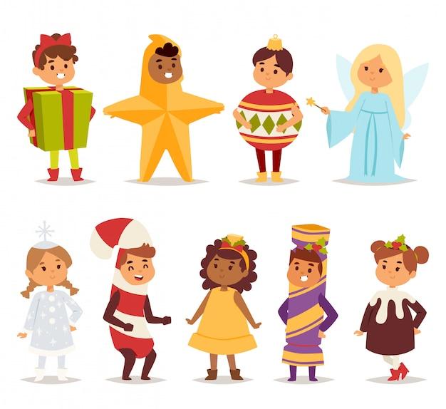 カーニバル衣装の子供たちのイラスト。