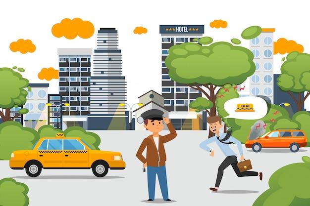 タクシーセット、仕事に遅れる男性キャラクター、ドライバーサービスを使用します。黄色の市松模様の車、イラストでキャップ立っている男