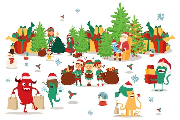 幸せなクリスマスモンスターは、マルチカラーのボックスやバッグ、イラストでプレゼントを運びます。サンタクロースがクリスマスツリーの近くの椅子に座っています。