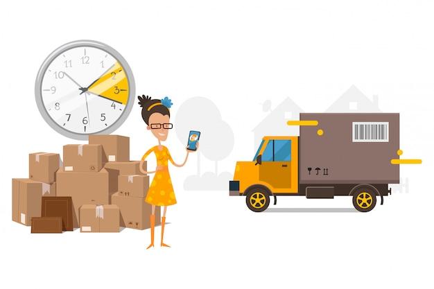 Ждать грузовик, грузовые перевозки, время на часах иллюстрации. клиент девушка разговаривает с менеджером компании, возле коробки