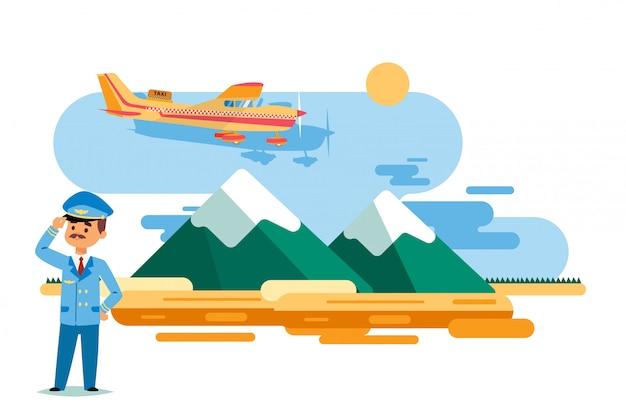 Такси самолета в полете над высокими горами, иллюстрации. человек персонаж в форме пилота стоять на земле, костюм и кепка