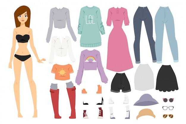 美しいベクトル漫画ファッションの女の子モデルコンストラクター見て立っています