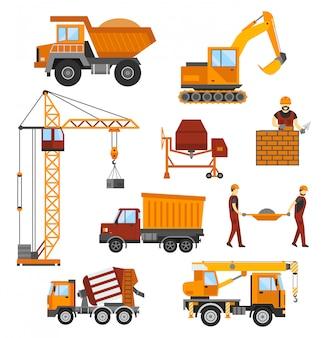 建設中の建物、労働者および建設技術のベクトル図