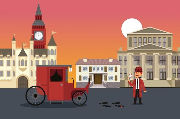 Исследование улицы города, иллюстрация результата шерлока холмса. мужчина с увеличительным стеклом осматривает доказательства преступления, кровь