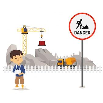 建設地域、イラストの下の危険。危険施設標識、工事を実施しています。負傷した少年キャラクター