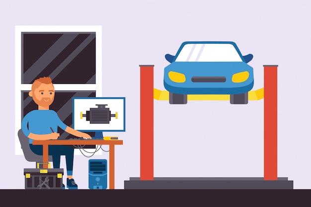 コンピューター部品の自動診断のイラスト。男キャラクターはコンピューターを使用して車を修理します。労働者はテーブルに座って、マシンを上げた