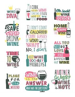 ワイン手描きロゴバッジ。
