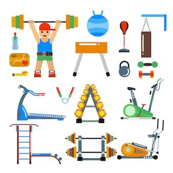 フィットネスジムクラブのベクトル要素。運動選手およびスポーツ用具。スポーツマンのシルエット、自転車トラック、くつろぎのはしご