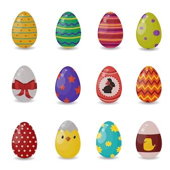 Пасхальные яйца векторные иконки плоский стиль
