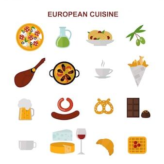 ヨーロッパ料理とおいしい要素を示す平面図フラットイラスト。