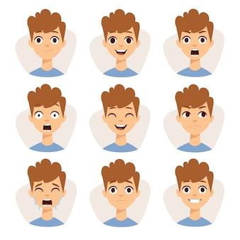 さまざまな表情の感情漫画を示す男の子の子供たちをフィーチャーしたイラスト。
