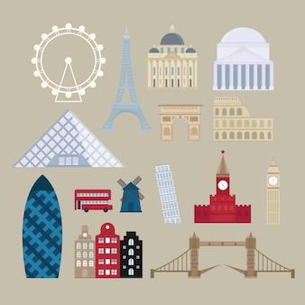 フラット漫画スタイルの歴史的な光景ヨーロッパの観光スポットのイラスト。