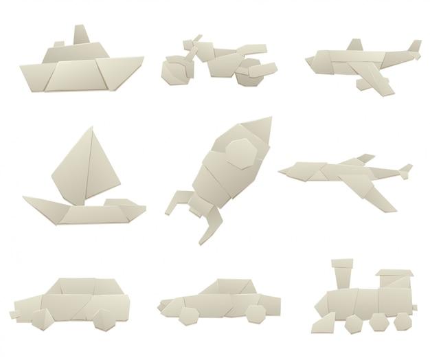 Оригами транспорт коллекция оригинальных плоской иллюстрации.