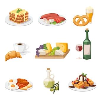 新鮮な朝の食べ物のセットです。ヨーロッパ式朝食漫画のベクトル図です。