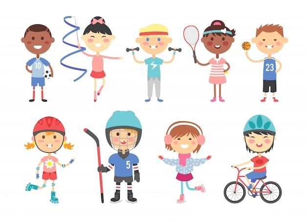 Дети играют в различные спортивные игры, такие как хоккей, футбол, гимнастика, фитнес, теннис, баскетбол, катание на роликах, велосипед плоский вектор.
