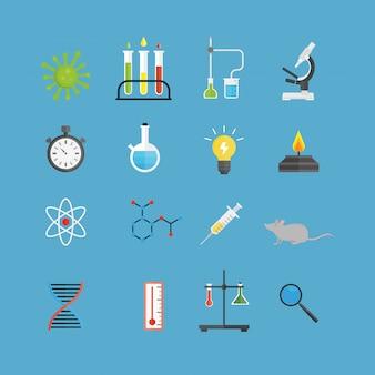 グラフィック設定化学実験室科学フラットベクトル。
