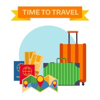 Винтажные классические коричневые кожаные чемоданы путешествия концепции вектор.