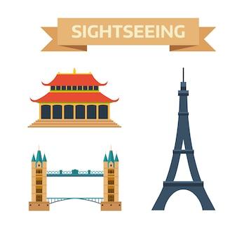 Осмотр достопримечательностей эйфелева башня париж, лондонский мост, китай, летний императорский дворец