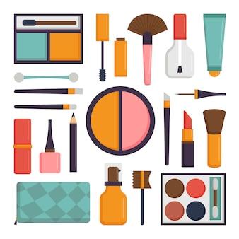 Комплект вектора составляет щетки и значок косметики моды красоты.