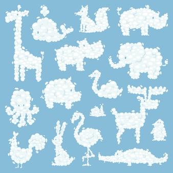 動物雲シルエットパターンベクトル図