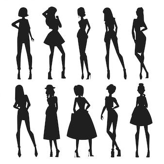 Мода абстрактный вектор девушки выглядит черный силуэт