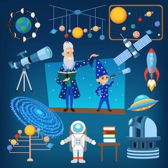 惑星と太陽から私たちの太陽系の占星術の天文学のアイコンベクトルイラスト、人々の教育