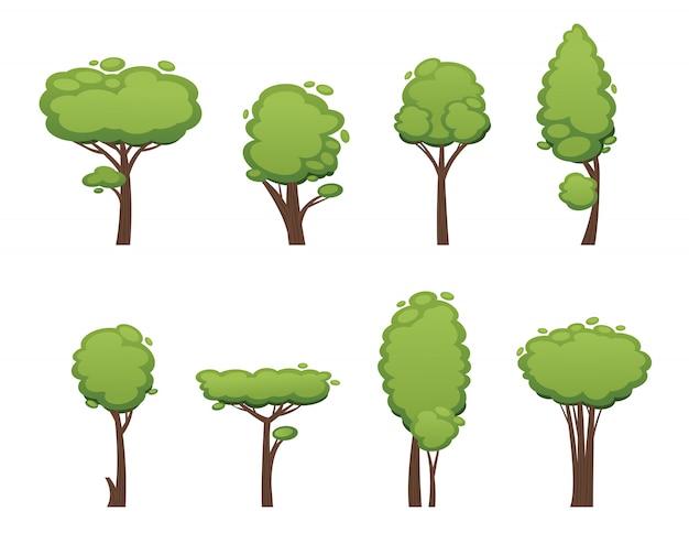 自然ベクターカットツリーコレクション要素