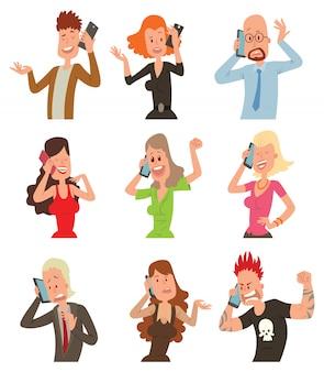 Успешные профессиональные деловые люди говорят его сотовый телефон векторные иллюстрации