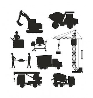 Набор тяжелого строительного оборудования силуэт машины значок здания транспортный вектор.