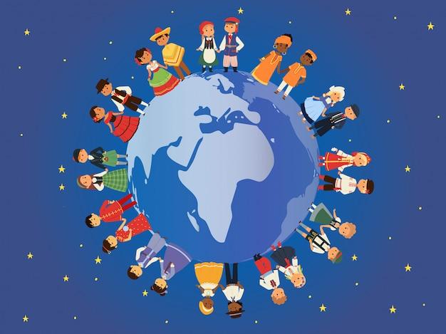 地球のイラストの周りのさまざまな国籍の子供たち。伝統的な衣装の民族衣装の子供キャラクター