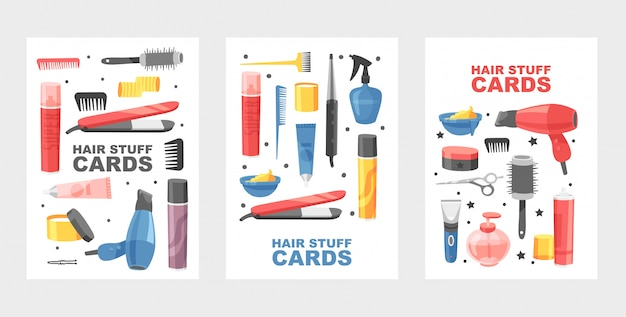 カードの髪のものセット。散髪や髪型をするための用品。ドライヤー、ファン、ハサミ、スーパースプレー、コーム。スタイリストのための機器。染料ツール