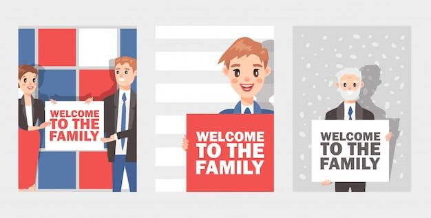 テキスト「家族へようこそ」カードセットのプラカードを保持しているビジネスマンと女性