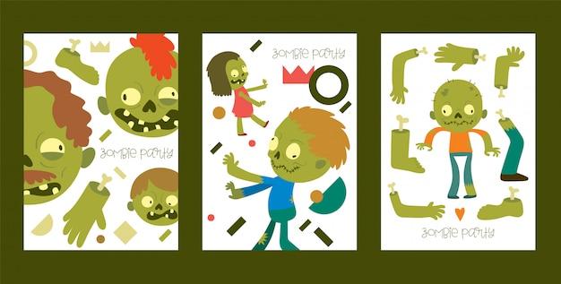 漫画のゾンビキャラクター、ハロウィーン怖いモンスター不気味な少年少女イラストカード