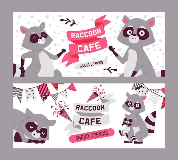アライグマカフェ、グランドオープンのバナーセット。かわいい漫画の動物の家族。大きな目を持つ生き物