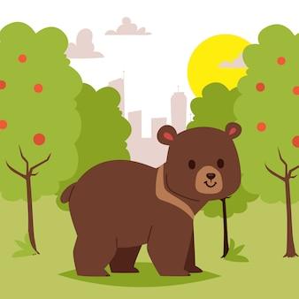 緑豊かなエリアの図を歩いて野生漫画動物クマ。美しい自然の風景。かわいい面白いクマ