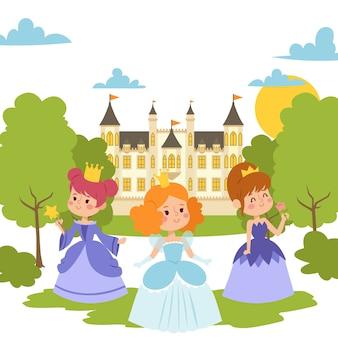 Принцесса девушки в вечерних платьях элегантные маленькие женские персонажи в плоском стиле. модные дамы в платьях с коронками