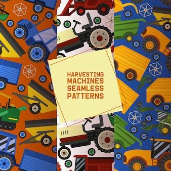 シームレスパターンの収穫機セット農業用機器。産業用農業用車両、トラクター輸送、コンバイン、機械。