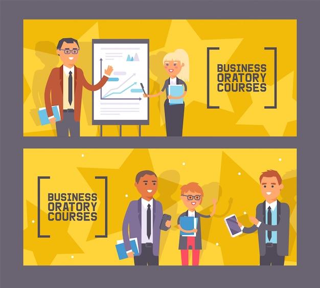 Бизнес курсы ораторского искусства набор баннеров женщина и мужчина, стоя возле презентации с диаграммой с указателем, люди с ноутбуками.