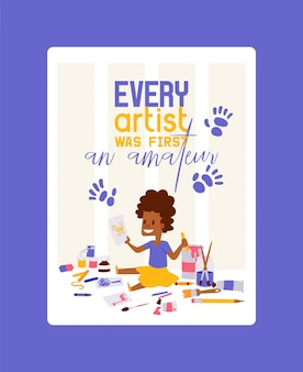 すべてのアーティストは最初のアマチュアポスターでした。女の子の描画、絵画、動物のスケッチ。教育、楽しみのコンセプト。鉛筆、水彩、クレヨン。