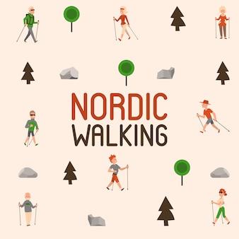 ノルディックウォーキングスポーツの人々レジャースポーツ時間アクティブなノルウォークの男性と女性の夏の運動。屋外フィットネス健康的なアクティブキャラクター。