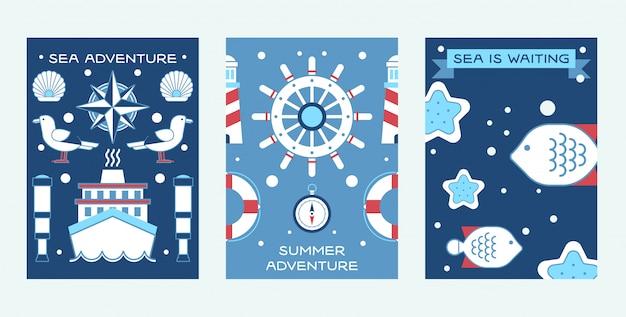 Море летних приключений, набор плакатов морская коллекция таких вещей, как корабельный штурвал, подзорная труба, спасательный круг, маяк.
