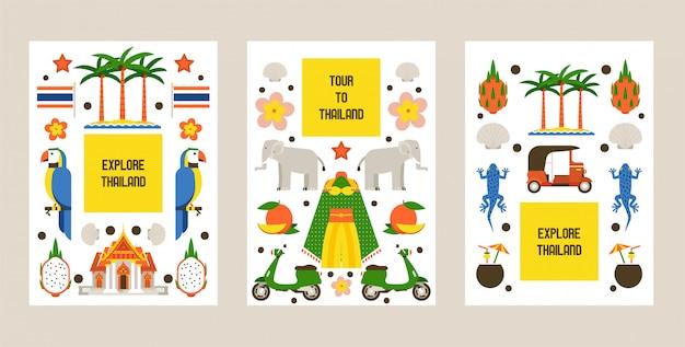 Исследуйте таиланд набор карт. традиции, культура страны. природа и животные